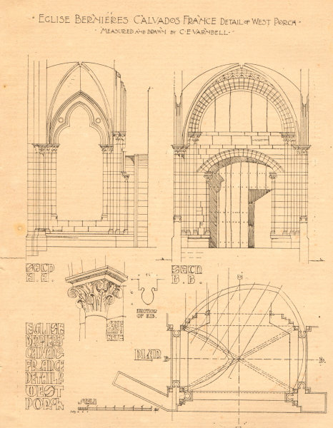 Associate Product Eglise Bernieres, Calvados, France. West porch plan drawn by C.E. Varndell 1900