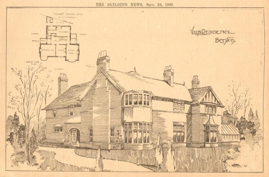 Associate Product Villa residence, Benton. Ground floor plan. Newcastle-upon-Tyne 1900 old print
