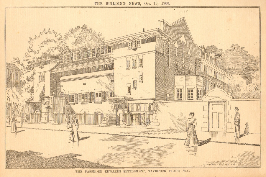 Associate Product Passmore Edwards settlement, Tavistock Place. Mary Ward Centre. UCL 1900 print