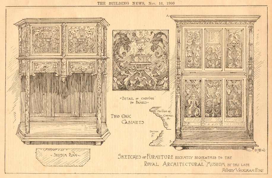 Associate Product Furniture bequest Royal Architectural Museum Henry Vaughan. Oak cabinets 1900