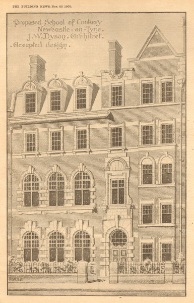 Associate Product Proposed school of cookery Newcastle-on-Tyne, JW Dyson, Architect. Plan (1) 1900
