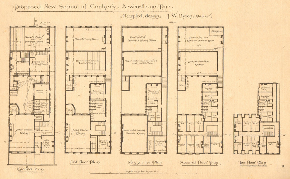 Associate Product Proposed school of cookery Newcastle-on-Tyne, JW Dyson, Architect. Plan (2) 1900