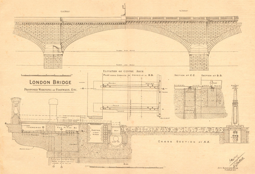 Associate Product London Bridge, proposed widening of footways. Elevation of centre arch plan 1900