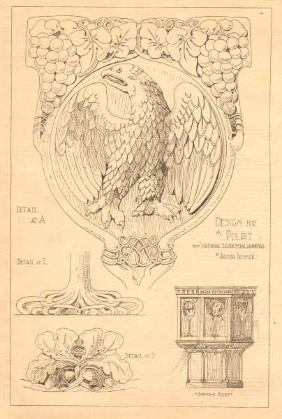 Associate Product Design for a pulpit from National Silver medal drawings by Agusta Trimmer 1901