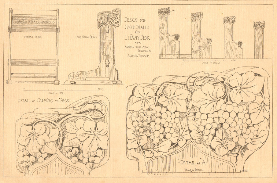 Associate Product Design for choir stalls & litany desk by Agusta Trimmer 1901 old antique print