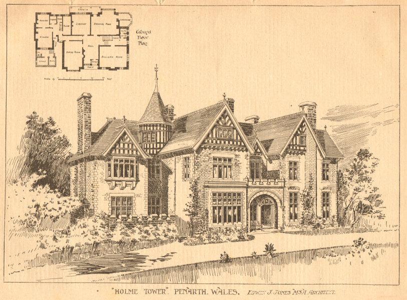 Associate Product Holme Tower, Penarth, Wales - Edwin J. Jones, Architect. Ground floor plan 1901
