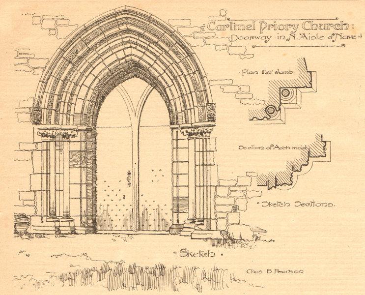 Associate Product Cartmel Priory Church. Doorway in N. Aisle of nave. Cumbria 1901 old print