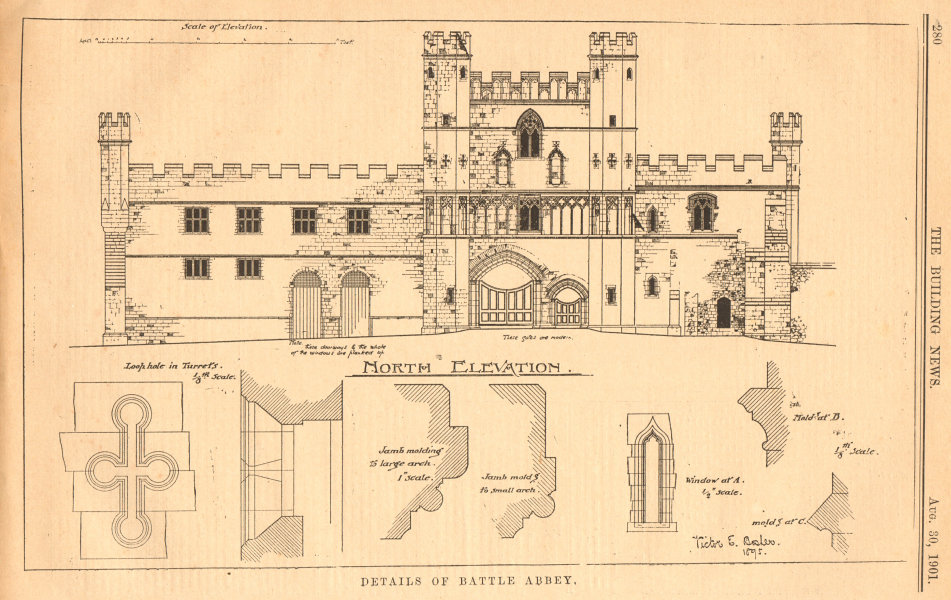 Associate Product Details of Battle Abbey. North elevation. Sussex 1901 old antique print