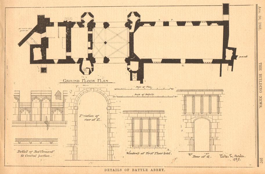 Associate Product Battle Abbey. Plan, battlement windows elevation. Sussex 1901 old print