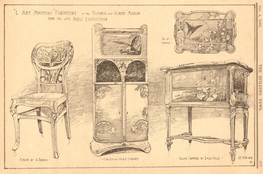 Associate Product Art Nouveau furniture Victoria & Albert Museum. Darras. Cabinet Emile Galle 1901