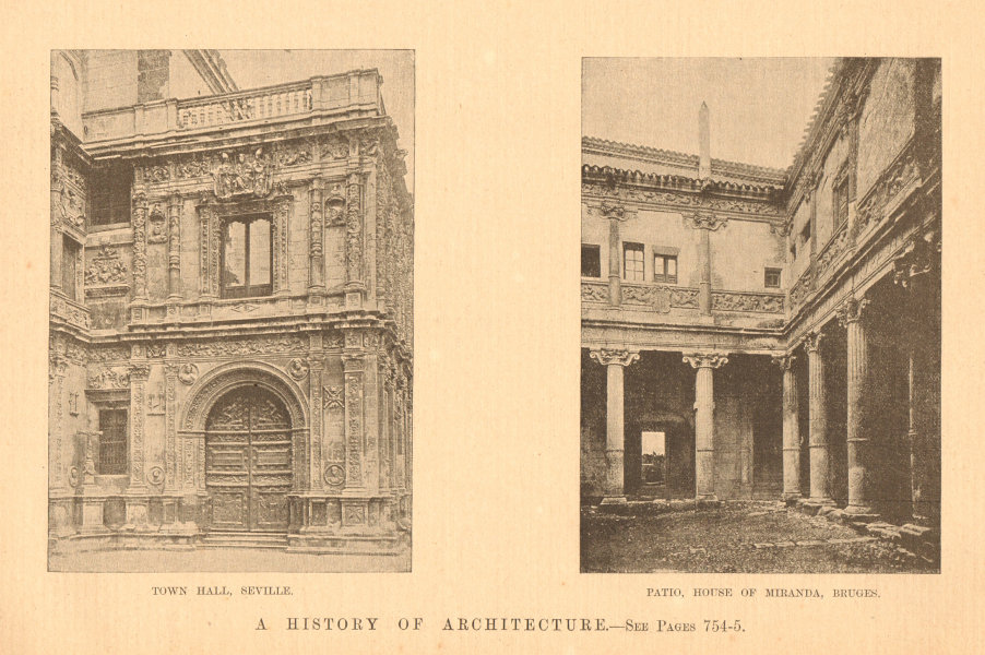 Associate Product Town Hall, Seville & Patio, House of Miranda, Bruges. Spain 1901 old print