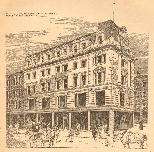 Associate Product New Premises for Mrs L. H. Dawson, No 119, City Road, EC. London 1902 print