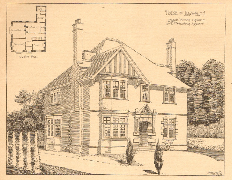 Associate Product House at Llangollen, H. Teather Architect, Shrewsbury & Cardiff. Plan 1902