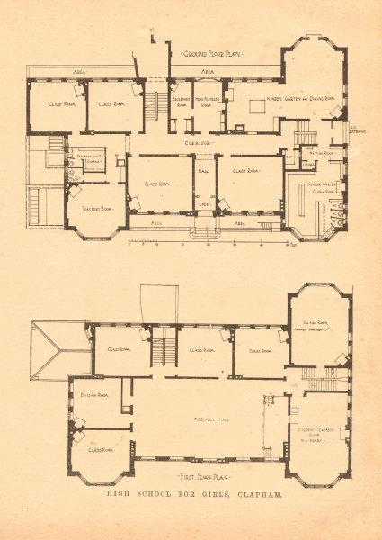 Associate Product High School for girls, Clapham. Ground floor & first floor plan. London 1902
