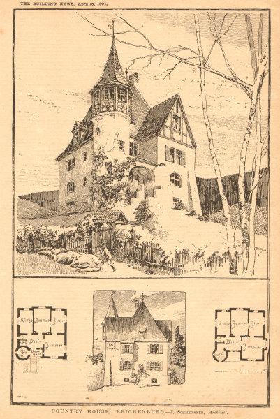 Associate Product Country House, Reichenburg - J. Schmeissner, Architect. Switzerland 1902 print