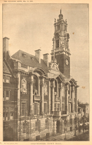 Associate Product Colchester Town Hall. Essex (1) 1902 old antique vintage print picture