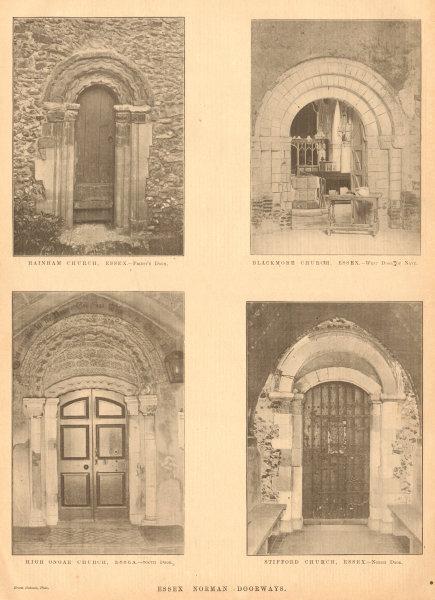 Associate Product Essex Norman church doorways. Rainham Blackmore High Ongar Stifford 1902 print