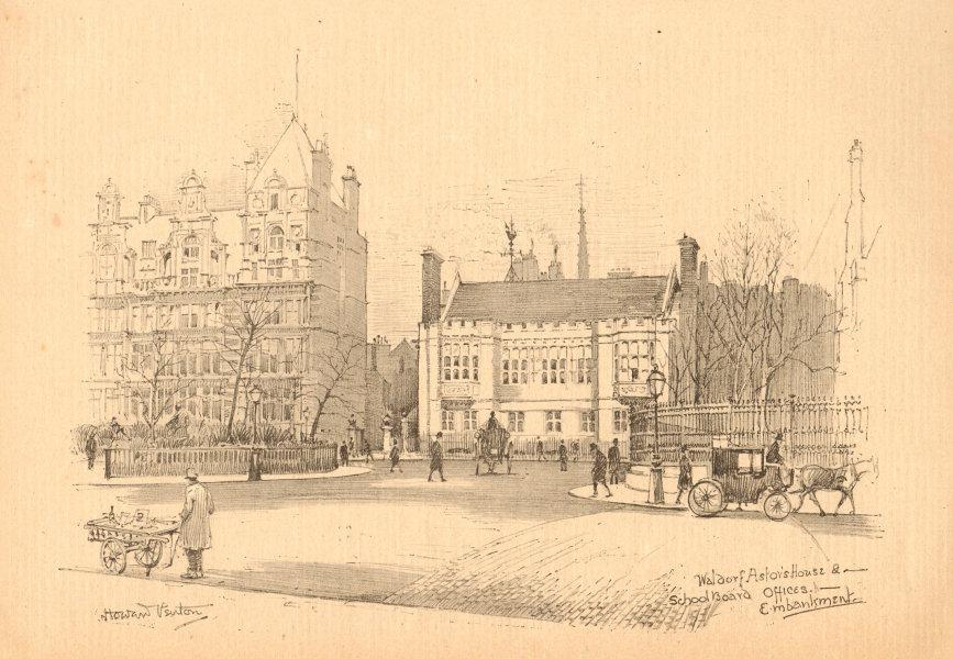 Associate Product Waldorf Astor's House & School board offices, Embankment. London 1902 print