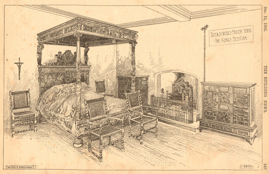 Associate Product Treasurer's house, York, the King's bedroom, from photo by Bedford Lemere 1902
