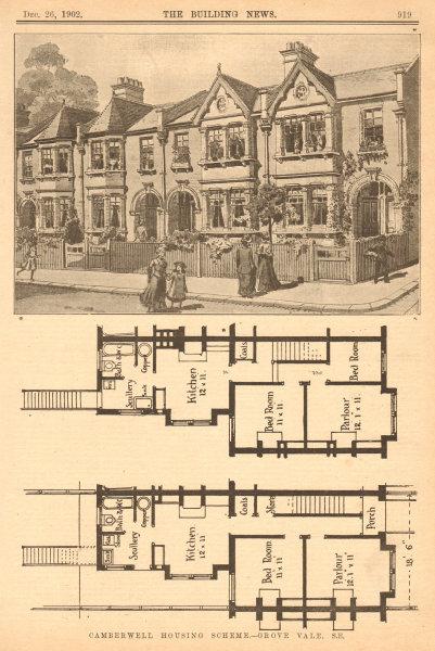 Associate Product Camberwell housing scheme - Grove Vale, S.E.. London 1902 old antique print