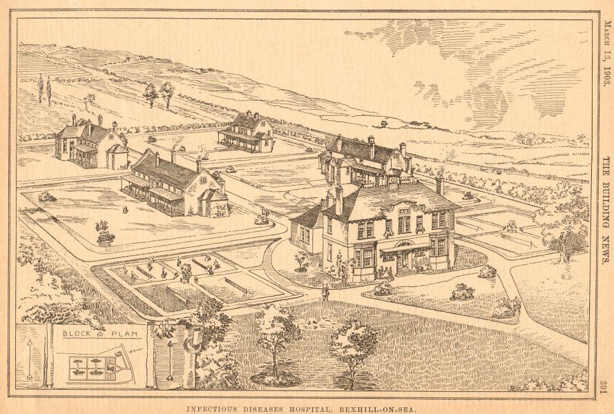 Associate Product Infectious diseases hospital, Bexhill-on-Sea. Block & plan. Sussex 1903 print