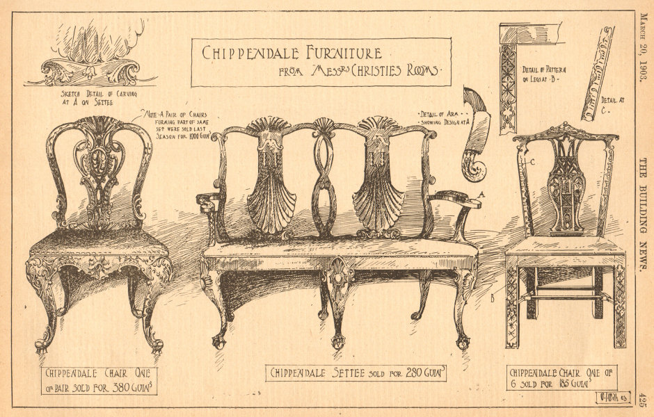 Associate Product Chippendale furniture from Christies auctionrooms. Chair settee 1903 old print