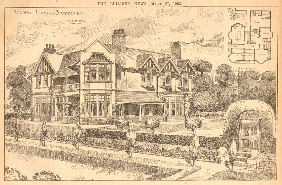 Associate Product Residence - Ludlow, Shropshire. Wood & Hutchings, Architects. Floor plan 1903
