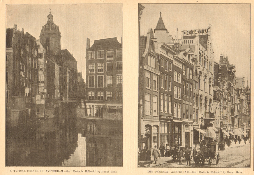 Associate Product A typical corner in Amsterdam. The Damrack, Amsterdam, by Harry Hems 1903