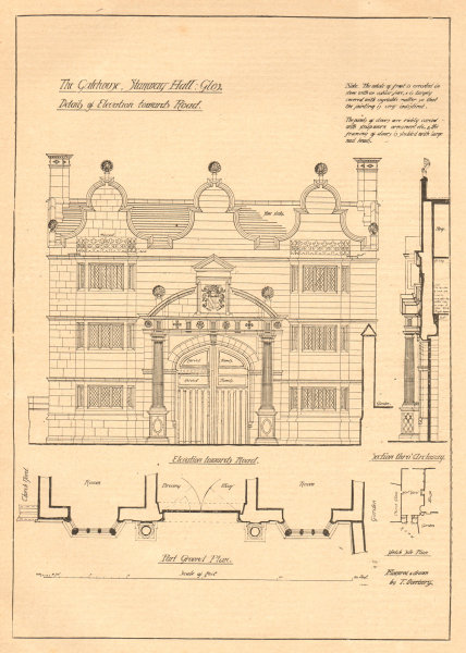 Associate Product Gatehouse, Stanway Hall, Gloucestershire. Plan & elevation towards road 1903