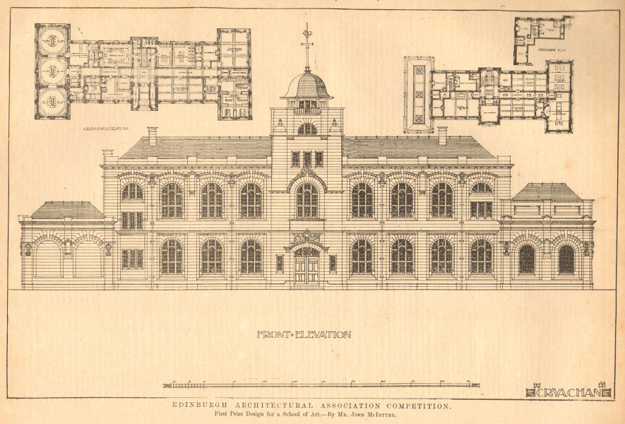 Associate Product Prize design for a School of Art, by Mr John McIntyre. Plans & elevation 1903