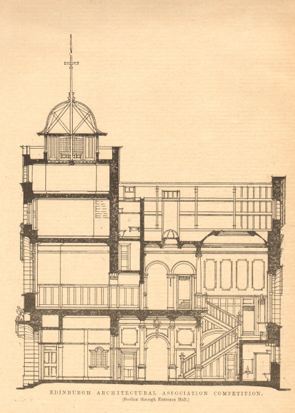 Associate Product Prize design for a School of Art by Mr John McIntyre. Entrance hall section 1903