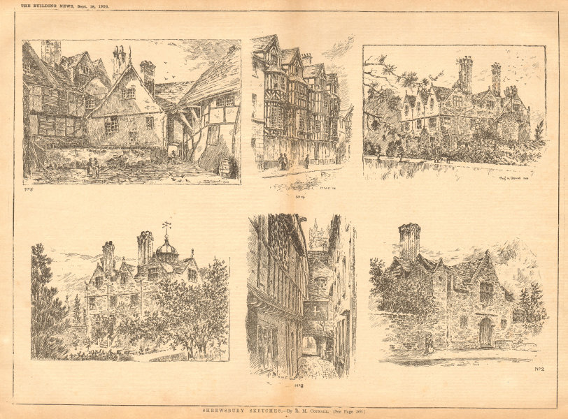 Associate Product Shrewsbury Sketches - by R. M. Copnall. Shropshire 1903 old antique print