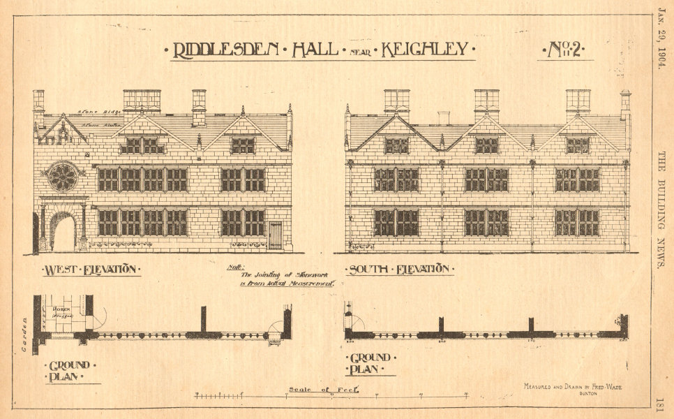 Associate Product Riddlesden Hall near Keighley. Drawn by Fred Wade. Plan. Yorkshire 1904 print