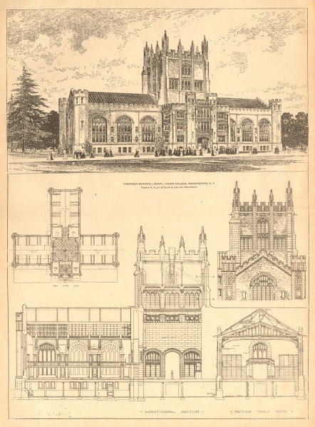 Associate Product Thompson Memorial Library, Vassar College, Poughkeepsie, New York 1904 print
