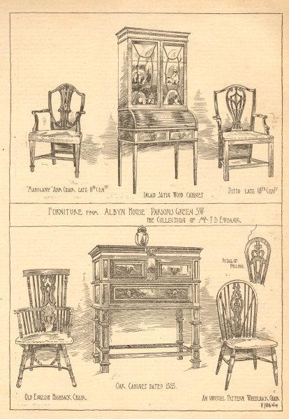 Associate Product Furniture Albyn House Parsons Green Ewbank 18C arm chair highback wheelback 1904