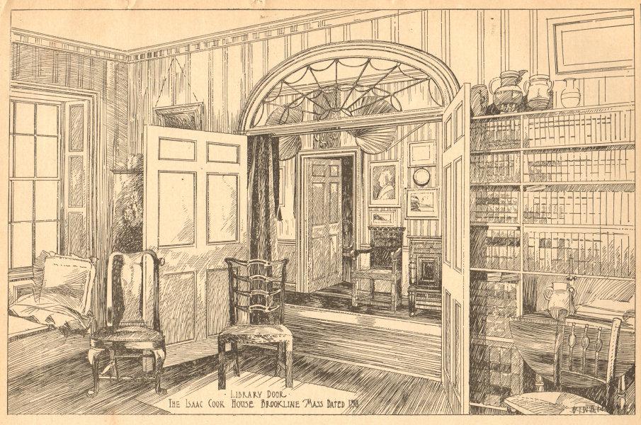 Associate Product Library door, Isaac Cook House, Brookline. Dated 1798. Massachusetts 1904