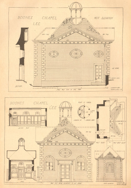 Associate Product Boone's chapel, Lee. Architectural Elevations & plans. London 1904 old print