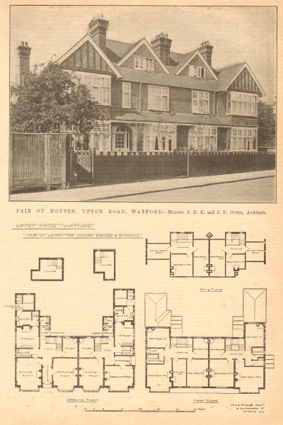 Associate Product Pair of houses, Upton Road, Watford. JEK & JP Cutts, Architects. Herts 1904