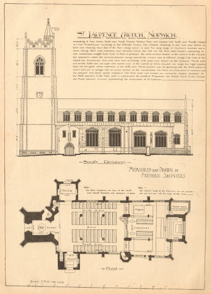 Associate Product St Laurence Church, Norwich. Drawn by Frederic Saunders. Plan 1904 old print