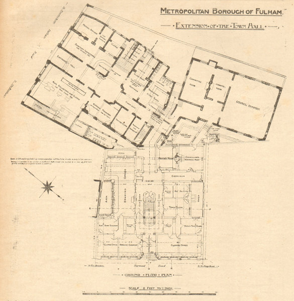 Associate Product Metropolitan Borough of Fulham, extension of the Town Hall. Plan. London 1904