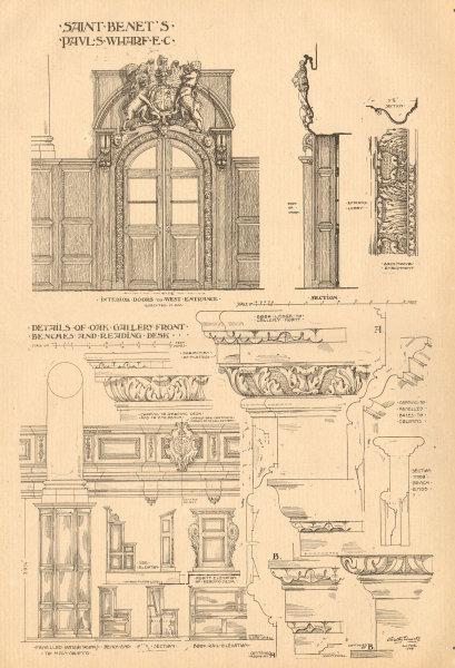 Associate Product Saint Benet's, Pauls Wharf, London. Oak gallery front bench reading desk 1905