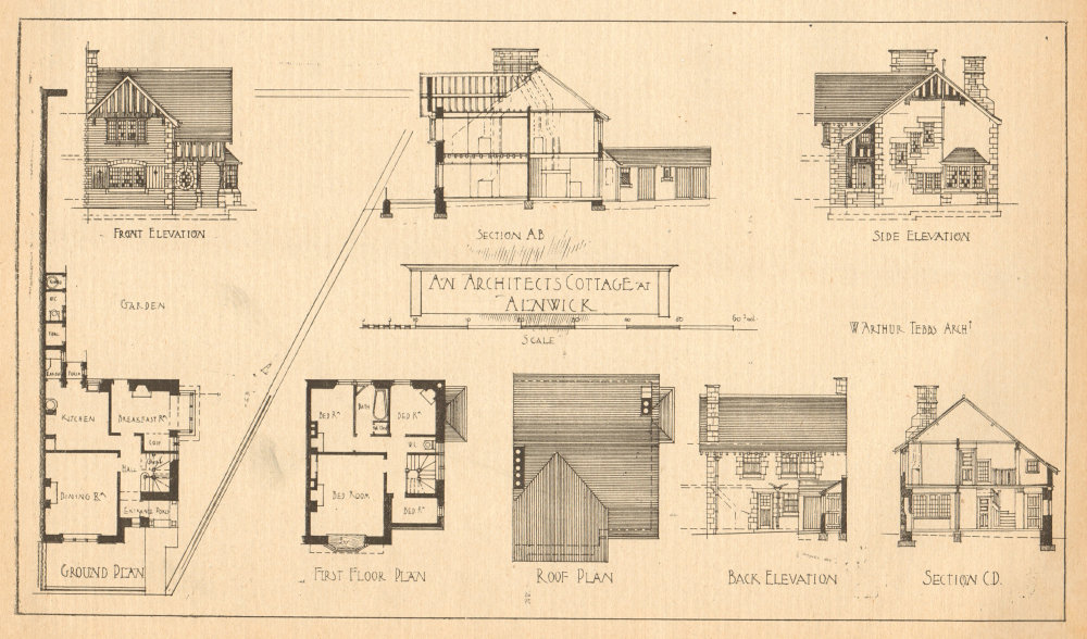 Associate Product An Architect's cottage at Alnwick. Elevations & plans. Northumberland 1905