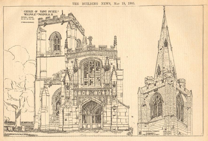 Associate Product Church of Saint Peter, Walpole, Norfolk, drawn by J. Harold Gibbons 1905 print