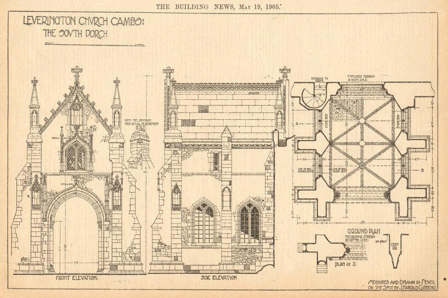 Associate Product Leverington Church, Cambridgeshire. South porch. Drawn by J. Harold Gibbons 1905