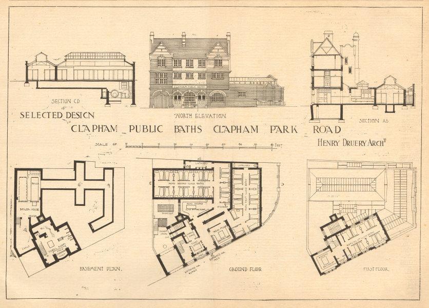 Associate Product Public Baths, Clapham Park Road, Henry Druery, Architect. Elevation plan 1905
