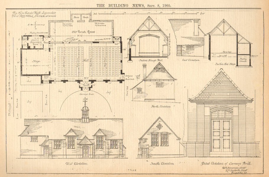 Associate Product The new parish hall; Lyminster, nr Arundel, Sussex. Elevation plan section 1905