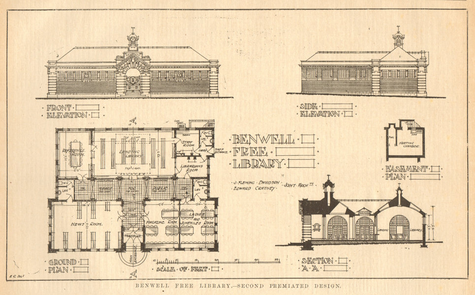 Associate Product Benwell Free Library, Davidson & Cratney, Architects. Newcastle-upon-Tyne 1905