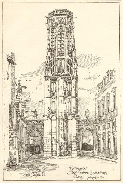 Associate Product The tower of Saint Germain L'Auxerrois, Paris, Arnold S. Constable Del 1905
