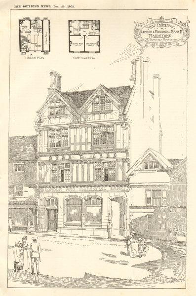 Associate Product The London & Provincial Bank Ltd, Maidstone. GE Bond Architect. Plans. Kent 1905