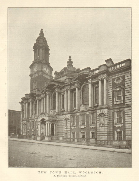 Associate Product New Town Hall, Woolwich, A. Brumwell Thomas, Architect. London 1906 old print